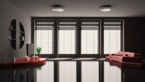 3d黑色内部居住的红色空间沙发 皇族释放例证