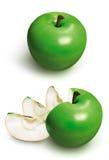 3d äpple - skivad green Fotografering för Bildbyråer