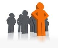 3d är den olika ledareenastående person royaltyfri illustrationer