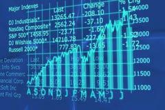 3d übertragen Börseen-Diagramm mit oben gehen Pfeil Stockfotografie