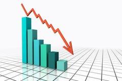 3d übertragen Geschäfts-Diagramm mit oben gehen Pfeil Stockfotos