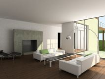 3D übertragen modernen Innenraum des Wohnzimmers Stockfotografie