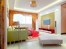3d übertragen modernen Innenraum des Wohnzimmers Lizenzfreie Stockbilder