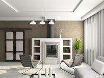 3D übertragen modernen Innenraum des Wohnzimmers stockfotos