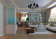 3d übertragen modernen Innenraum von Wohnzimmer 1 Stockfoto
