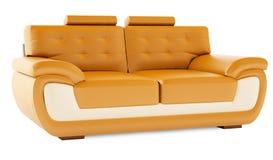 3D übertragen orange Sofa auf einem weißen Hintergrund Stockfotografie