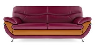 3D übertragen purpurrotes Sofa auf einem weißen Hintergrund Stockbilder