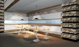 3D übertragen vom modernen Gaststätteinnenraum Stockfotografie