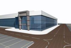3D übertragen vom modernen Gebäude Stockfotografie
