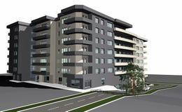 3D übertragen vom modernen Wohngebäude Lizenzfreies Stockbild