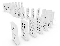 3d übertragen von den Dominos in einer gebogenen Zeile Stockfotos