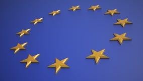 3D übertragen von der EU-Markierungsfahne stock abbildung
