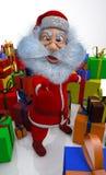 3d übertragen von Weihnachtsmann ist zufrieden mit Geschenken Stockfoto