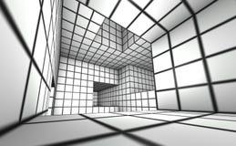 3d übertragen weißes mit Ziegeln gedecktes Labyrinth Stock Abbildung