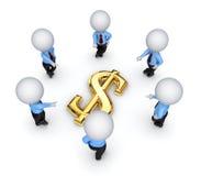 3d вокруг людей доллара подписывают малое Стоковые Фото