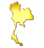 3d золотистая карта Таиланд Стоковая Фотография RF