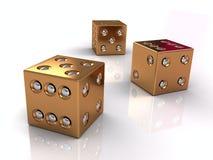 3d золотистое dices Стоковые Изображения