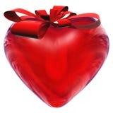 3d как красный цвет сердца подарка стеклянный Стоковое Изображение RF