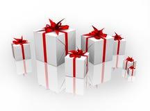 3d кладет изолированный подарок в коробку Стоковые Фото