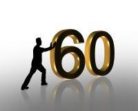3d нажимать 60 дней рождения графический Стоковое фото RF