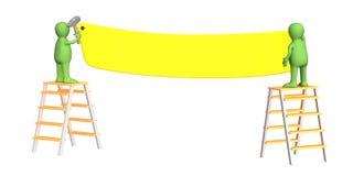 3d прикрепляя марионеток коллектора 2 работника иллюстрация вектора