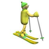 3d стоит катание на лыжах лыжника горы Стоковые Изображения