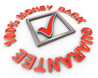 3d 100% money back guarantee. 3d render of check box with encricle text '100% money back gurantee Stock Photos