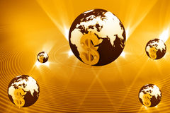 3d美元地球符号 库存照片