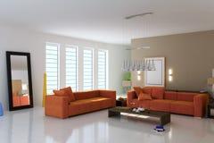 живя самомоднейшая комната 3d Стоковое Изображение