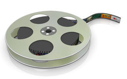 3d 16mm film reel. 3d render of film reel on white background royalty free illustration