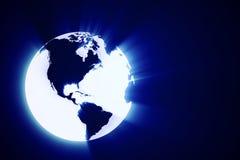 3d发光抽象地球的地球 库存图片