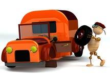 3d更改人橙色轮胎卡车木头 免版税库存照片