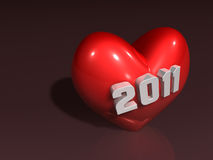 3d 2011 art on red heart Royalty Free Stock Image