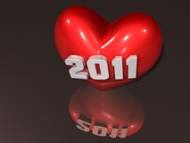 3d 2011 art on red heart Royalty Free Stock Photo