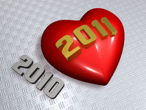 3d 2011 art and red heart Royalty Free Stock Image