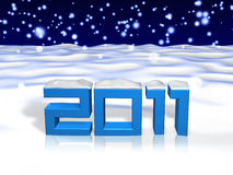 3d 2011 art on snow field Royalty Free Stock Images
