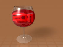 3d 2011 art into wine glass Royalty Free Stock Photography