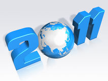 3d 2011 letter with globe Stock Photo