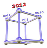 3D 2012 cube. Technical background vector illustration