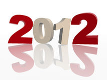 3d 2012 in red and grey. 3d colour figures like ciphers makes 2012 over white background Stock Photo