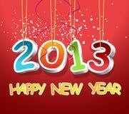 3D 2013 en gelukkig nieuw jaar Stock Foto's