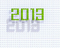 3d 2013 green lego. Numbers on white background stock illustration