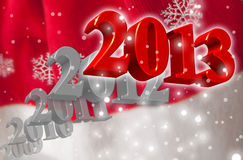 3D 2013 - Greeting Card. Greeting Card for the New Year 2013 with 3D numbers on a blurred Santa's clothing background with snowflakes royalty free illustration