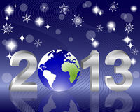3d 2013 New Year. 3d 2013 New Year with globe and reflection on the holiday background. vector Royalty Free Stock Images