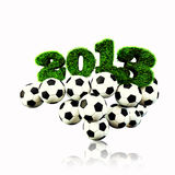 3D 2013 year grass text, title with Footballs. 2013 year grass text, title with Footballs 3d render isoloated white BG Stock Image