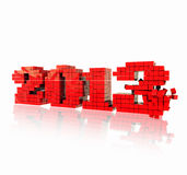 3D 2013 year red cubes text, title 3d render Stock Photography