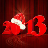 3D 2013 year text, Title 3d render with Santa Hat Royalty Free Stock Photography