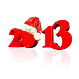 3D 2013 year text, Title 3d render with Santa Hat. 2013 Text High res 3d render with Santa Hat.  White Background Stock Photo