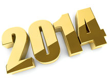 3D 2014 year golden figures Stock Photos