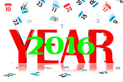 3D 2016. 3D Year 2016 Calendar icon is dropped from the top Stock Images